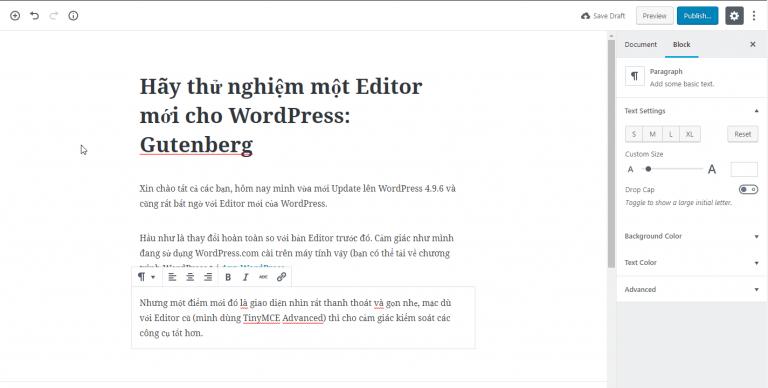 Hãy thử nghiệm một Editor mới cho WordPress: Gutenberg