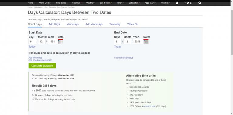 Tính khoảng cách giữa các ngày, giờ một cách chính xác với Time & Day