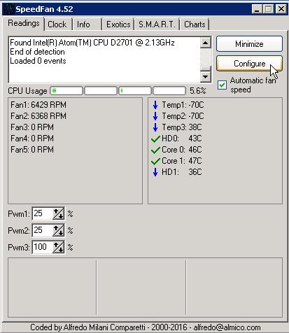 Cấu hình SpeedFan chạy một tốc độ khi khởi động nền