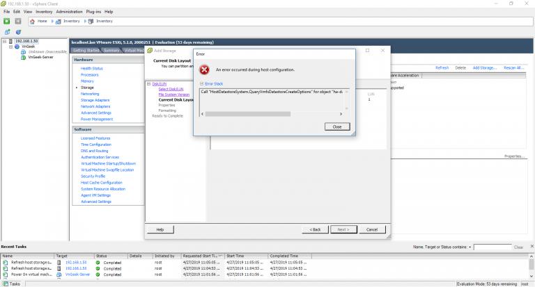 "Sửa lỗi: Call ""HostDatastoreSystem .QueryVmfsDatastore CreateOptions"" khi thêm ổ cứng mới vào VMWare ESXi"